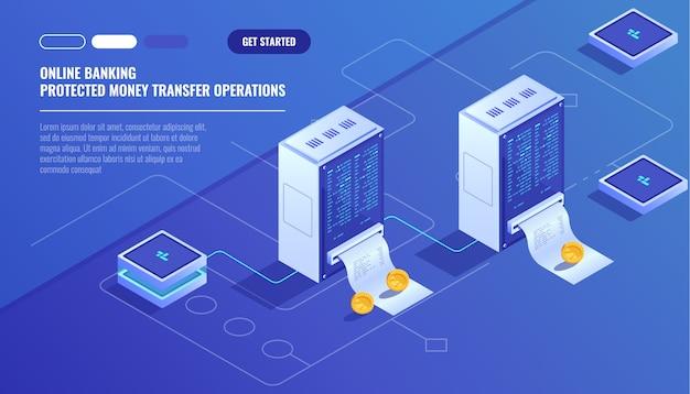 Esquema de blockhain, moeda de criptografia de mineração, sala de servidores, computadores alimentados