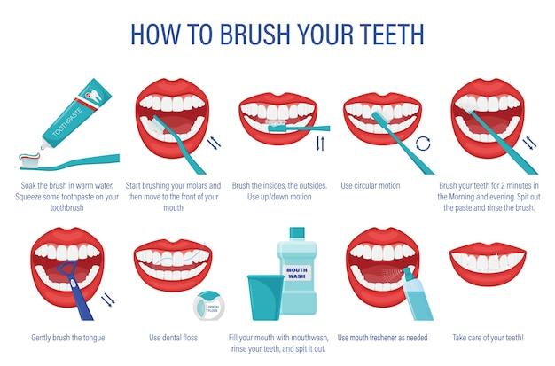 Esquema de como escovar os dentes. instruções passo a passo.