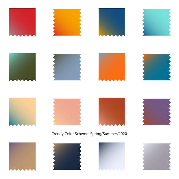 Esquema de cores na moda por manchas de gradiente. primavera e verão 2020