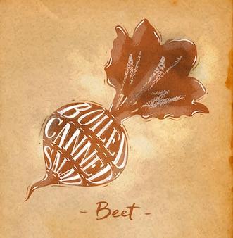 Esquema de corte de beterraba com cartaz rotulando salada enlatada cozida em estilo retro com desenho em artesanato
