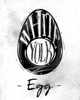 Esquema de corte de ovo de pôster, letras brancas, gema em estilo vintage, desenho em fundo de papel sujo