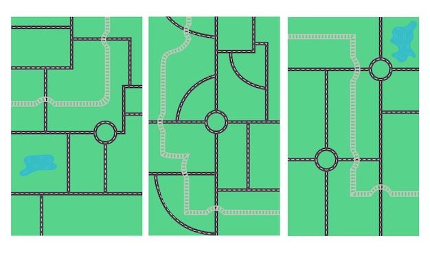 Esquema de mapa de estrada horizontal sobre fundo azul. projeto do berçário para o criador do mapa. ilustração vetorial