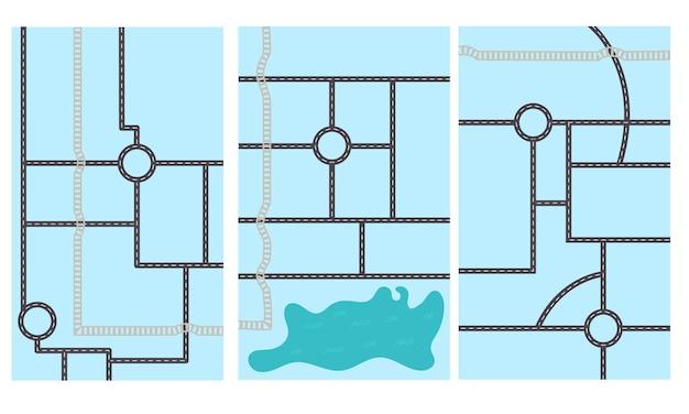 Esquema de mapa de estrada vertical sobre fundo azul. projeto do berçário para o criador do mapa. ilustração vetorial