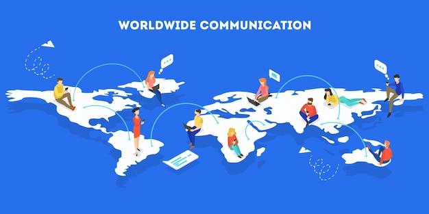 Esquema de rede social. conexão global entre pessoas