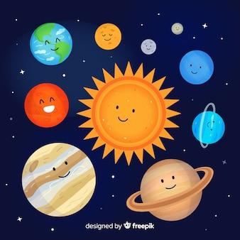 Esquema de sistema solar linda mão desenhada