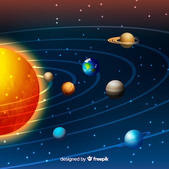 Esquema do sistema solar com design realista