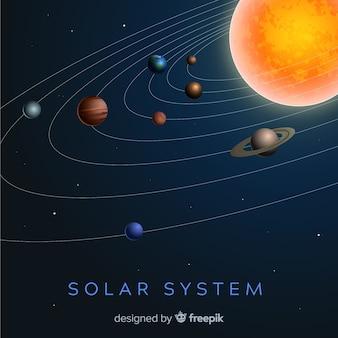 Esquema elegante do sistema solar com design realista