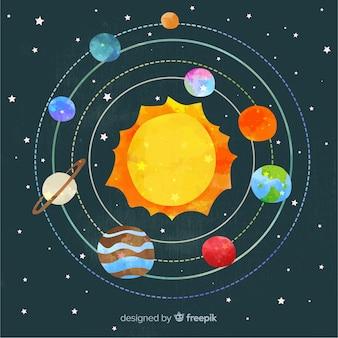 Esquema encantador do sistema solar em aquarela