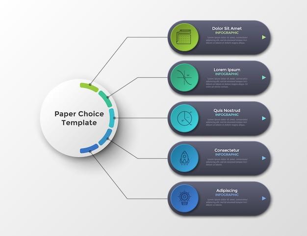 Esquema ou fluxograma com cinco elementos ou opções conectados ao círculo principal por linhas. limpe o modelo de design do infográfico. ilustração vetorial para plano de negócios em 5 etapas ou visualização de projeto.