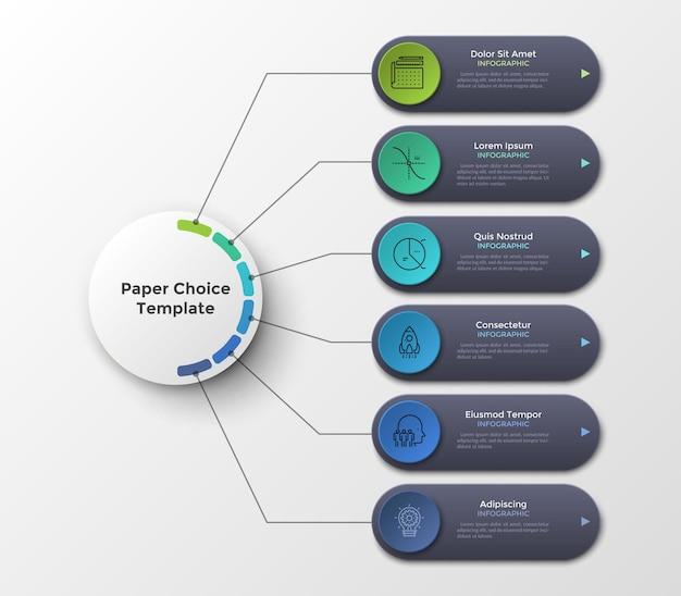 Esquema ou fluxograma com seis elementos ou opções conectados ao círculo principal por linhas. limpe o modelo de design do infográfico. ilustração vetorial para plano de negócios de 6 etapas ou visualização do projeto.