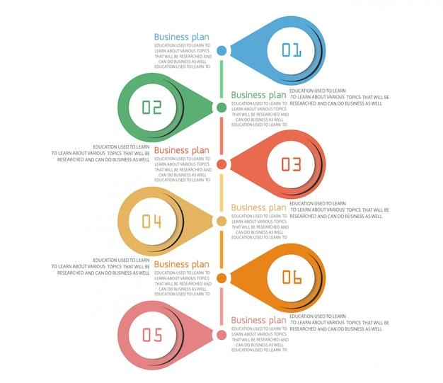 Esquema para educação e negócios usado no ensino, bem como com seis opções