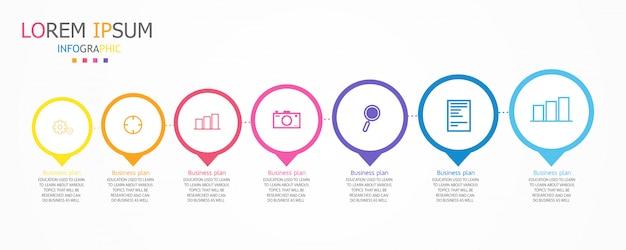 Esquema para educação e negócios usado no ensino, bem como com sete opções