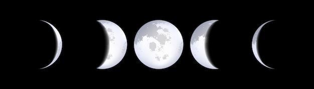 Esquemas de fases da lua, calendário lunar, luar.