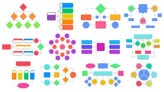 Esquemas de fluxograma. diagramas de fluxograma estrutural de negócios. fluxo de trabalho, processo, estrutura, infográfico