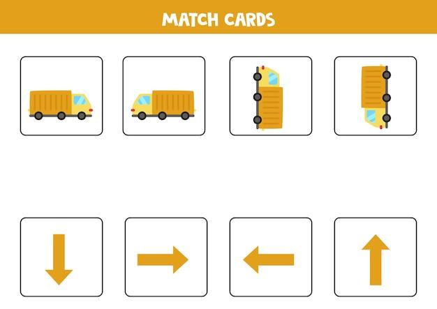 Esquerda, direita, para cima ou para baixo. orientação espacial com caminhão de desenho animado.