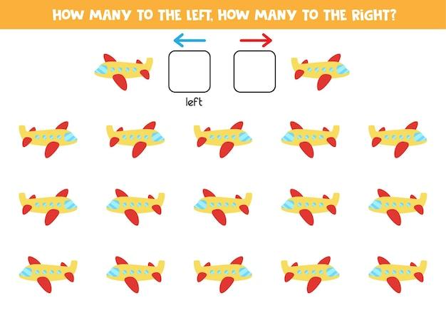 Esquerda ou direita com avião de desenho animado. jogo educativo para aprender a torto e a direito.