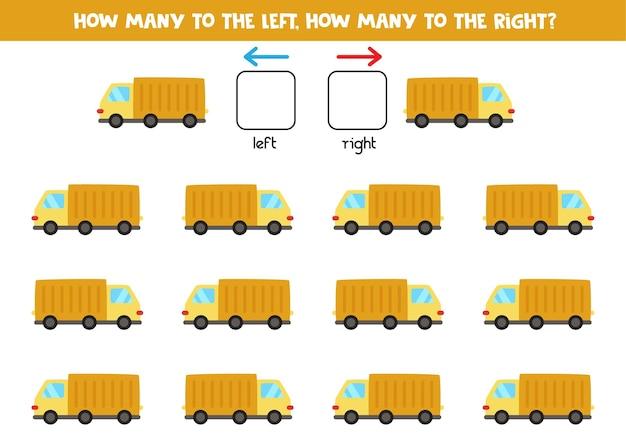 Esquerda ou direita com caminhão de desenho animado. jogo educativo para aprender a torto e a direito.