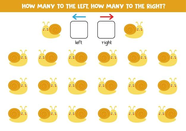 Esquerda ou direita com caracol bonito. jogo educativo para aprender a torto e a direito.