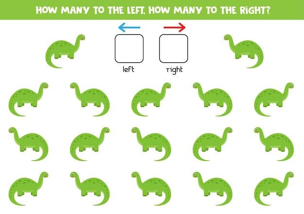 Esquerda ou direita com dinossauro verde dos desenhos animados. jogo educativo para aprender a torto e a direito.