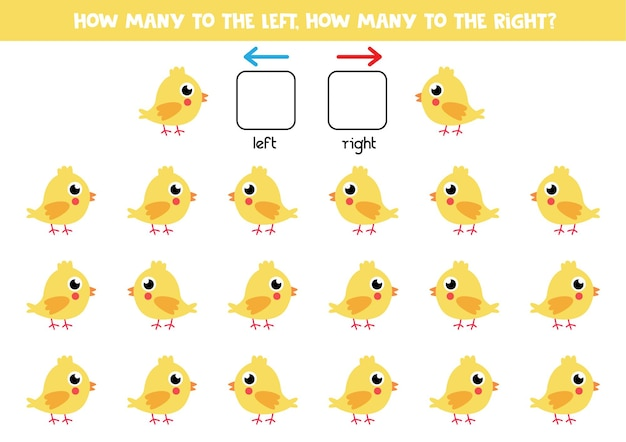 Esquerda ou direita com frango amarelo bonito. jogo educativo para aprender a torto e a direito.