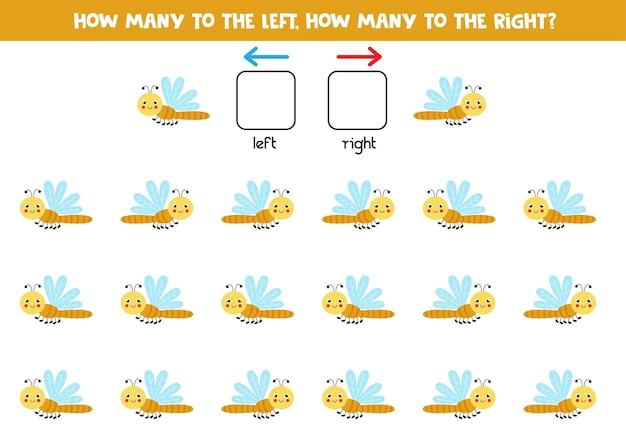 Esquerda ou direita com libélula fofa. jogo educativo para aprender a torto e a direito.