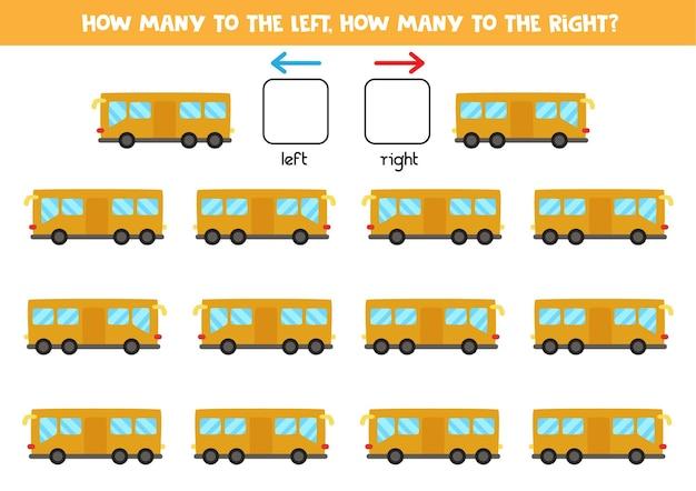 Esquerda ou direita com ônibus de desenho animado. jogo educativo para aprender a torto e a direito.