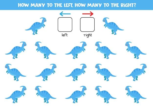 Esquerda ou direita com tiranossauro de dinossauro dos desenhos animados. jogo educativo para aprender a torto e a direito.