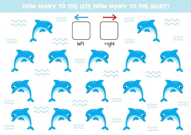 Esquerda ou direita. jogo de orientação para crianças. golfinhos de bonito dos desenhos animados.