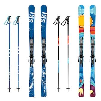 Esqui de montanha de vetor e varas detalhadas em fundo branco equipamento desportivo