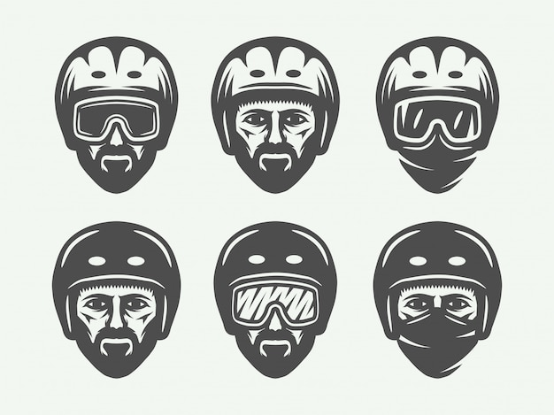 Esqui de snowboard ou logotipos de cabeça de inverno