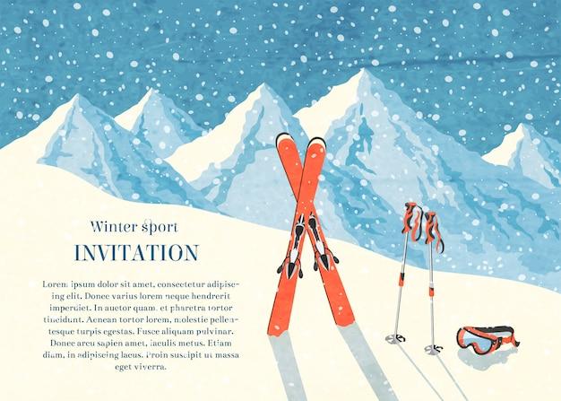 Esqui inverno paisagem de montanha quadro de cartão de convite retro