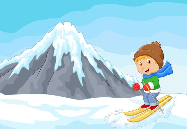 Esquiador alpino dos desenhos animados corridas colina extrema com iceberg