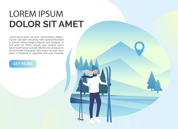 Esquiador mulher, paisagem de neve e texto de exemplo