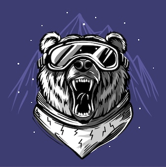 Esquiador urso.
