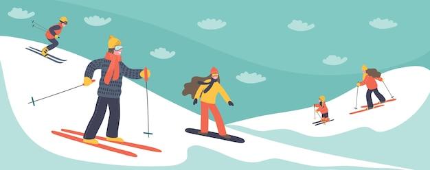 Esquiadores de mão desenhada esquiando nas montanhas. ilustração de férias de inverno.