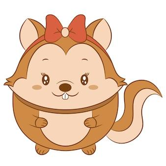 Esquilo bebê fofo desenhando com arco