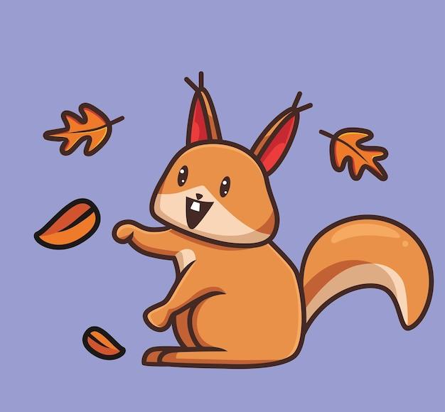 Esquilo bonito brincando de desenho animado de folha animal conceito de estação de outono ilustração isolada estilo simples