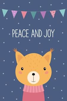 Esquilo bonito dos desenhos animados com um suéter um cartão de natal