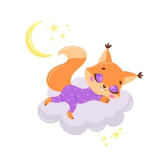 Esquilo bonito dos desenhos animados dormindo numa nuvem.