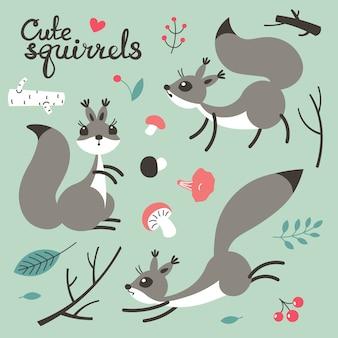 Esquilo bonito dos desenhos animados. pequenos esquilos engraçados.