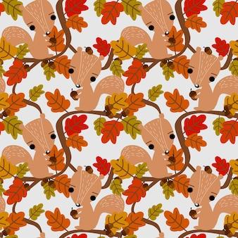 Esquilo bonito e folhas de outono padrão sem emenda.