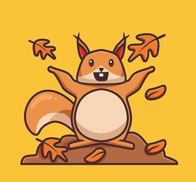 Esquilo bonito jogando folhas de outono conceito de temporada de outono dos desenhos animados ilustração isolada estilo simples