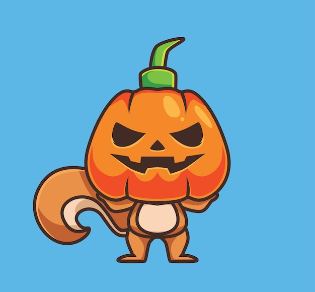 Esquilo bonito usando máscara de abóbora animal dos desenhos animados conceito de evento de halloween ilustração isolada