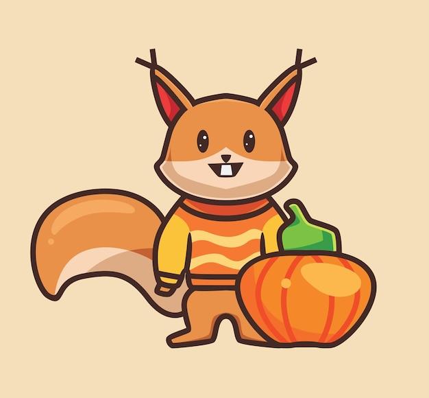Esquilo bonito vestindo roupas desenho animado animal conceito temporada de outono ilustração isolada plana