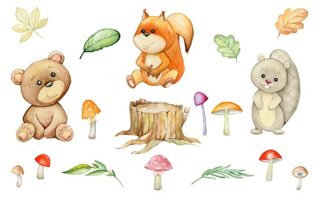 Esquilo, castor, urso, cogumelos, folhas, toco. conjunto aquarela