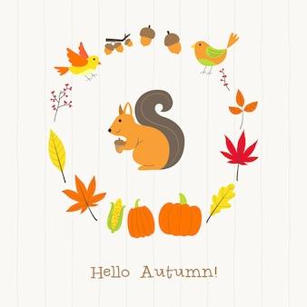 Esquilo, com, outono, cartão quadro