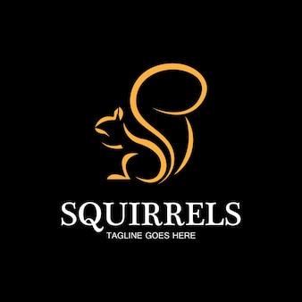 Esquilo criativo logotipo animal design ícone símbolo ilustração vetorial