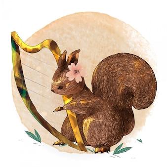 Esquilo de animal bonito aquarela de pintados à mão tocar música em um galho com flores tropicais e folhas