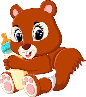 Esquilo de bebê segurando a garrafa de leite