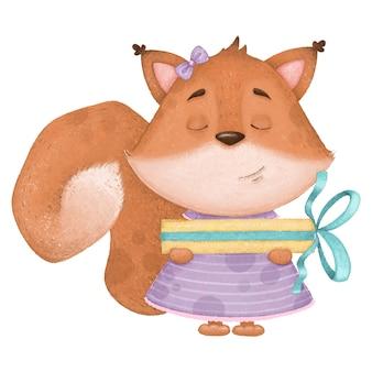 Esquilo de desenho animado bonito no vestido e com um presente. ilustração de aniversário digital.